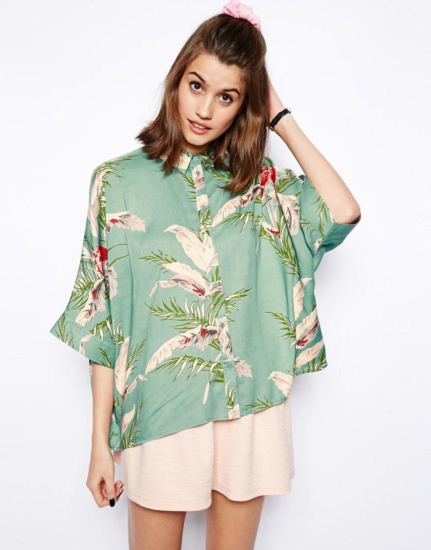 Tropical floral short blouse