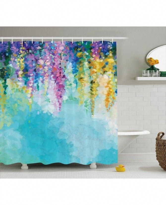 Abstract Art Shower Curtain Watercolor Flower Print For Bathroom