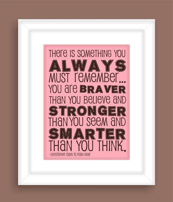 Pooh Bear Brave Quote Modern Art Print by FieldandFlower on Etsy