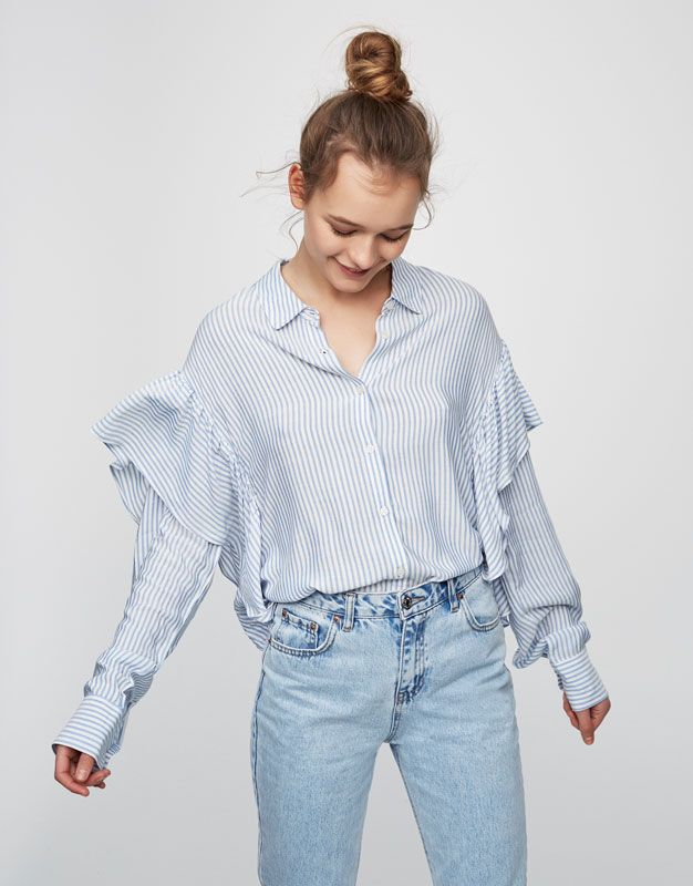 Striped shirt with frilled sleeves - New - Woman - PULL BEAR Netherlands ebb38d99aef