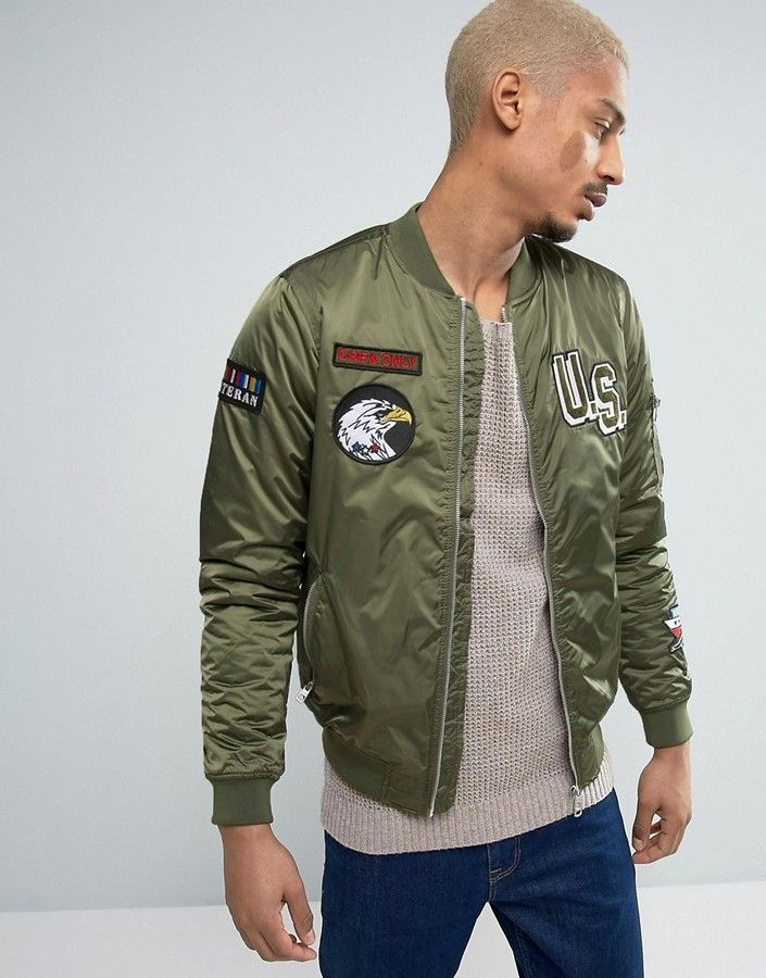 5f6c13465 Pull&Bear MA1 Bomber Jacket With Patches In Khaki | Men's Fashion ...