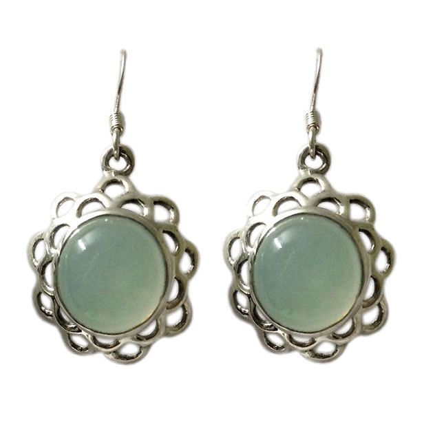 Round Chalcedony With Flower Designed Plate In Sterling Silver Hoop Earring #Articulate #Hoop