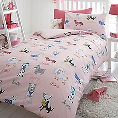 Bluezoo Kids Pink Dogs Duvet Cover And Pillow Case Set