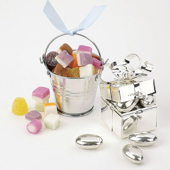 Mini Pail Wedding Favours in Silver by vintagebellewedding on Etsy