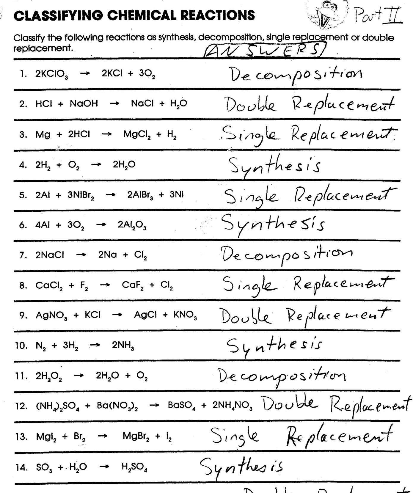 11 8th Grade Chemical Reactions Worksheet