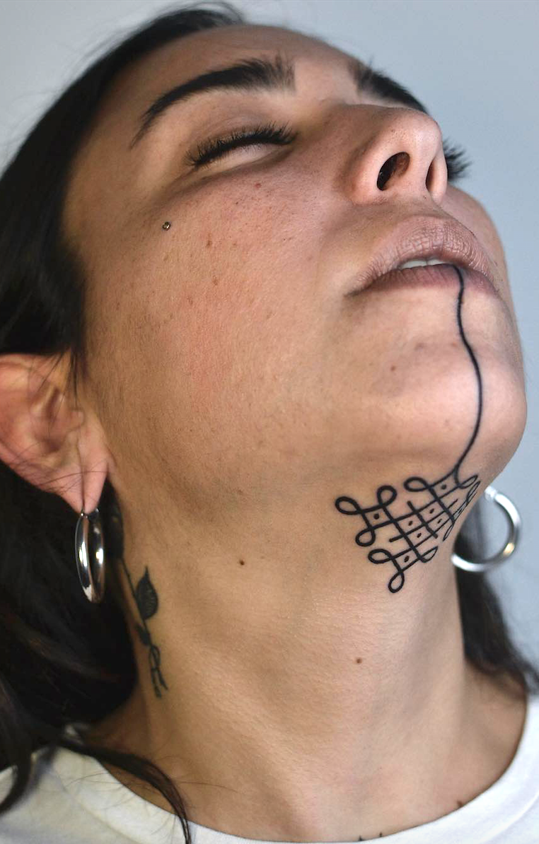 aede3d48805a7 20 Under The Chin Tattoos You Didn't Know You Needed To Boost Your  Confidence