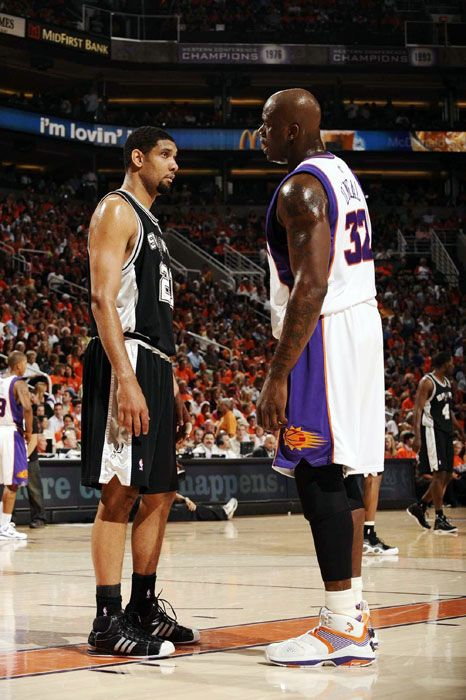 8d0765c6281 Tim Duncan and Shaquille ONeal   Old and new school   Sports, Sports ...