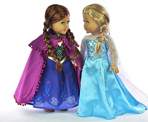 Ebuddy ® Elsa and Anna Sparkle Princess Dress for 18 inch doll clothes fits American Girl - http://www.rekomande.com/ebuddy-elsa-and-anna-sparkle-princess-dress-for-18-inch-doll-clothes-fits-american-girl/