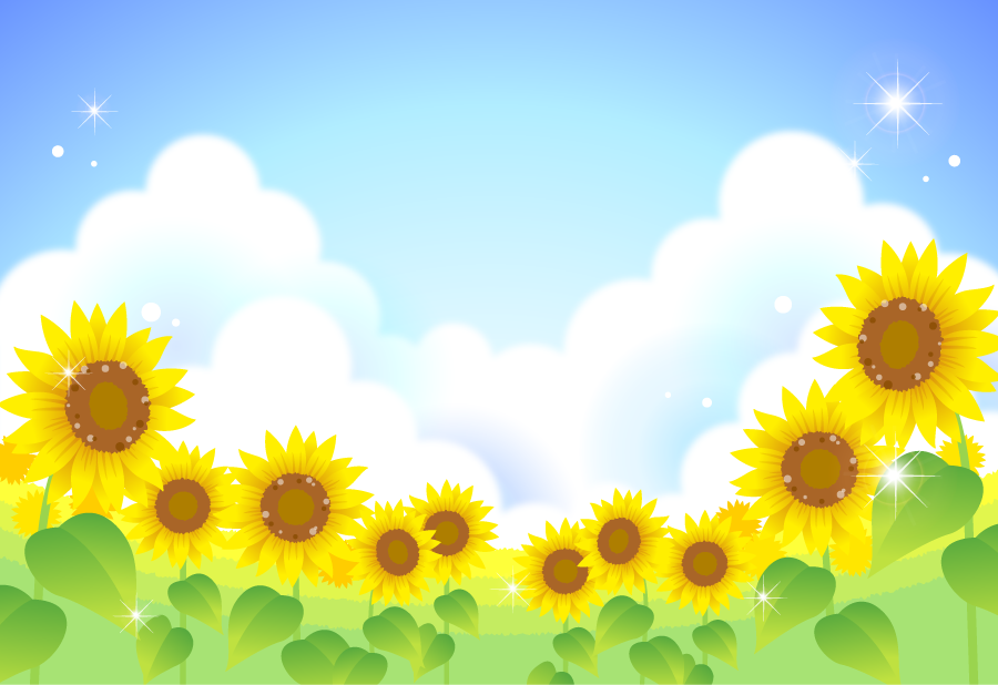 フリーイラスト 入道雲とひまわり畑の風景 ひまわり ひまわり畑 ひまわり 壁面