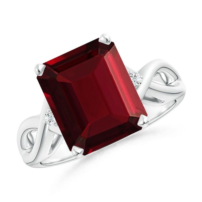 Angara Solitaire Square Garnet Crossover Engagement Ring VxoSWiuC