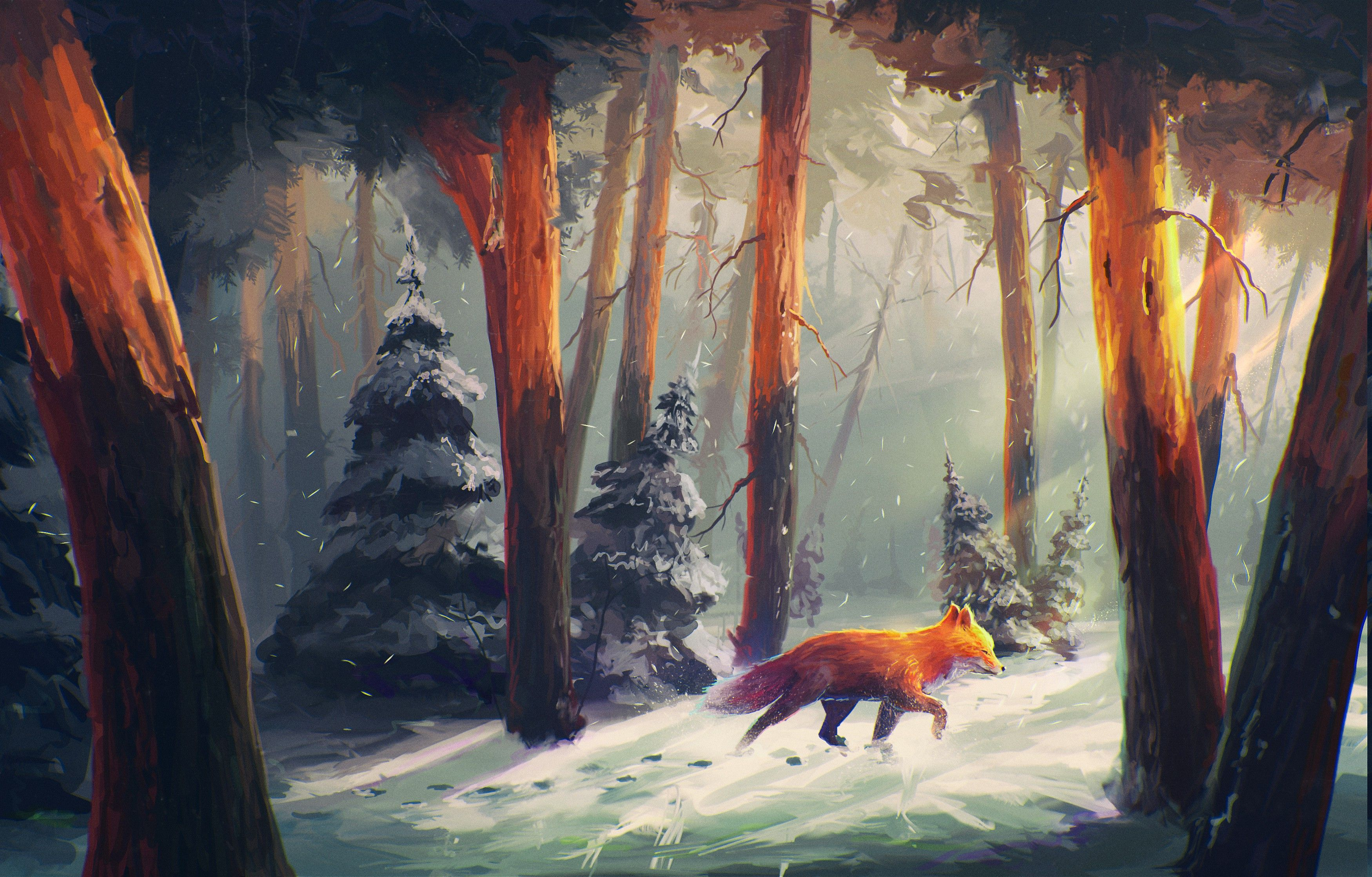 Nature Animals Snow Artwork Digital Art Forest Sylar Sunlight Fox Wallpapers Hd Desktop And M Desktop Background Nature Fox Artwork Drawing Wallpaper