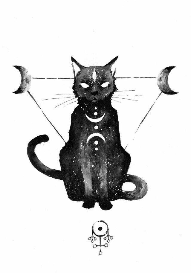 The Wizards Familiar Cat Tattoo Cat Art Drawings