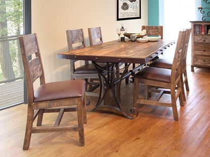 Antique Multicolor 72 Inch Table With Six Chairs Dining