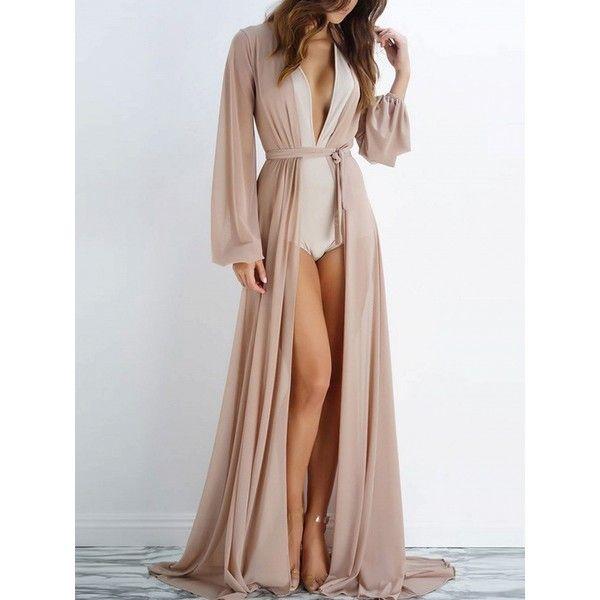 Custom Pattern Sheer Long Dress Gown See Through Kimono Robe Bikini Cover Up