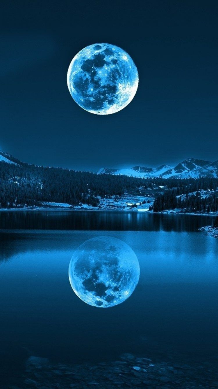 Nature Landscapes Night Moon Awesome Amazing View Reflection Shining Lake Mountains Dark Blue Hd Iphone 6 Wallpaper