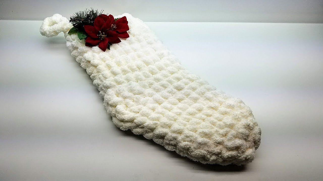 How To Crochet Easy Jolly JUMBO Christmas Stocking size 24\