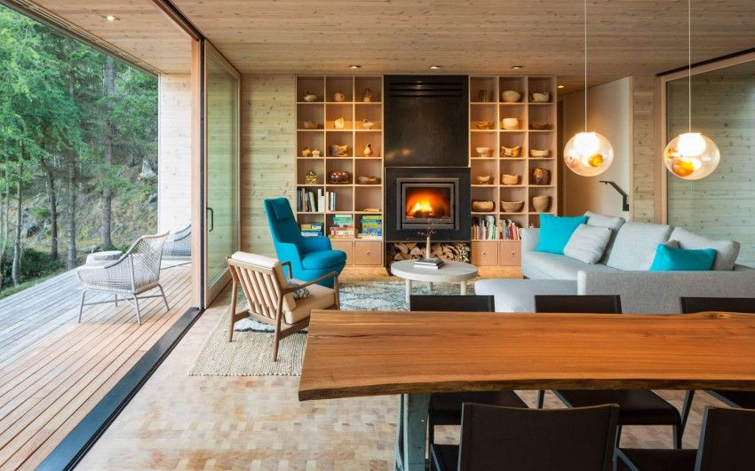 A Woodsy Retreat on Orcas Island Architects, Rustic interiors and - moderne luxus wohnzimmer