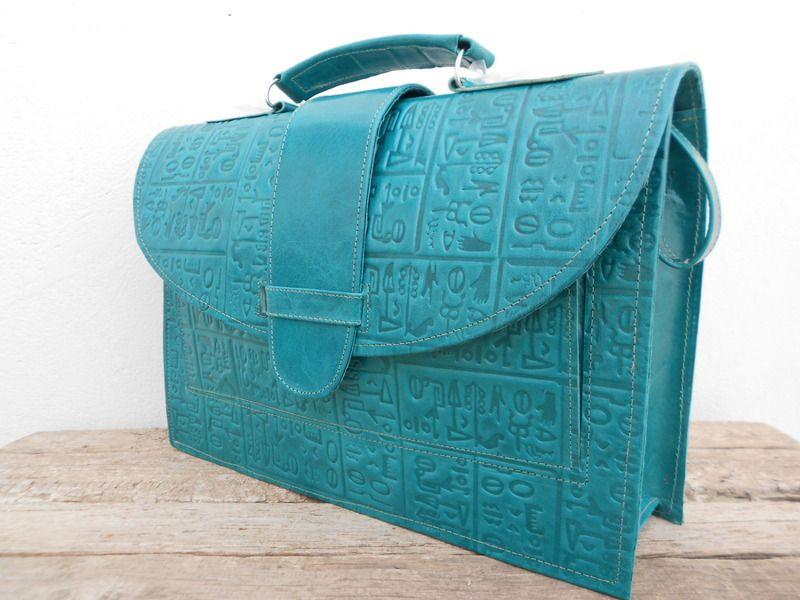 Sacs en cuir, Sac cartable, Messenger en cuir Turquoise Bleu est une création orginale de B-Mehdi sur DaWanda