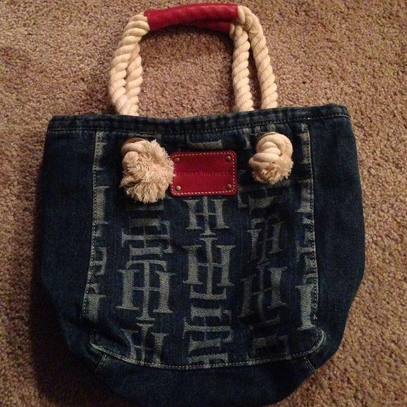 """Tommy Hilfiger Denim Tote Bag Tommy Hilfiger Denim tote bag with four pockets inside. 13"""" x 12"""" Tommy Hilfiger Bags Totes"""