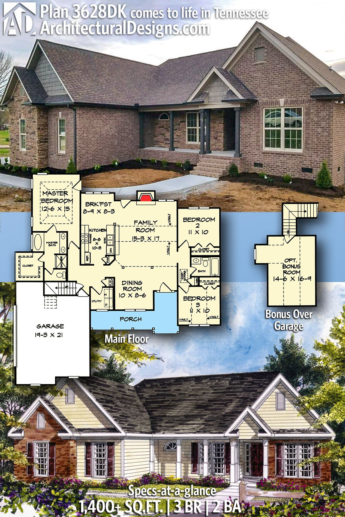 Plan 3628dk 3 Bed Country Home Plan With Bonus Above Country House Plans Best House Plans Architectural Design House Plans