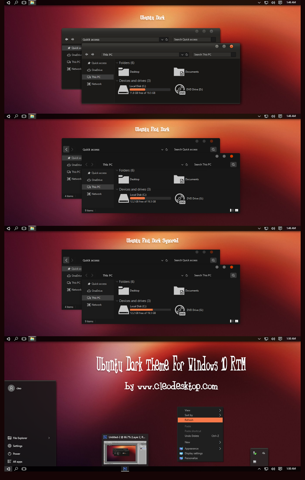 Cleodesktop Ubuntu Dark Theme For Windows 10 RTM