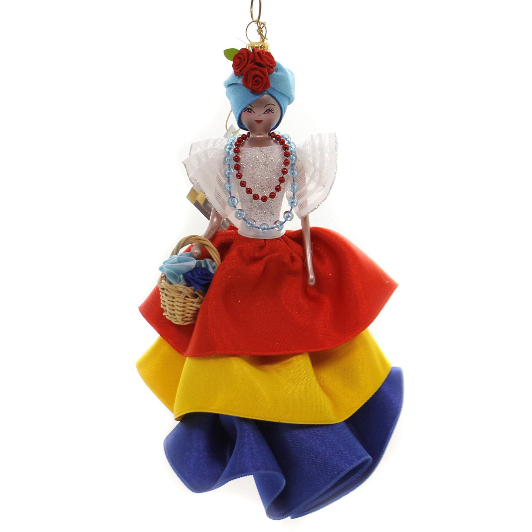 De Carlini CUBAN LADY IN COLORFUL OUTFIT Glass Ornament ...