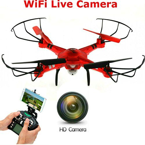 SkyCo New Rc Drone With Camera Live Video Quadcopter 4 Ch 2.4ghz 6-gyro,Headless System HD One-Key-return Take Off Barometer Air Pressure Set Helicopter WiFi FPV (Red) >>> Check out the image by visiting the link.