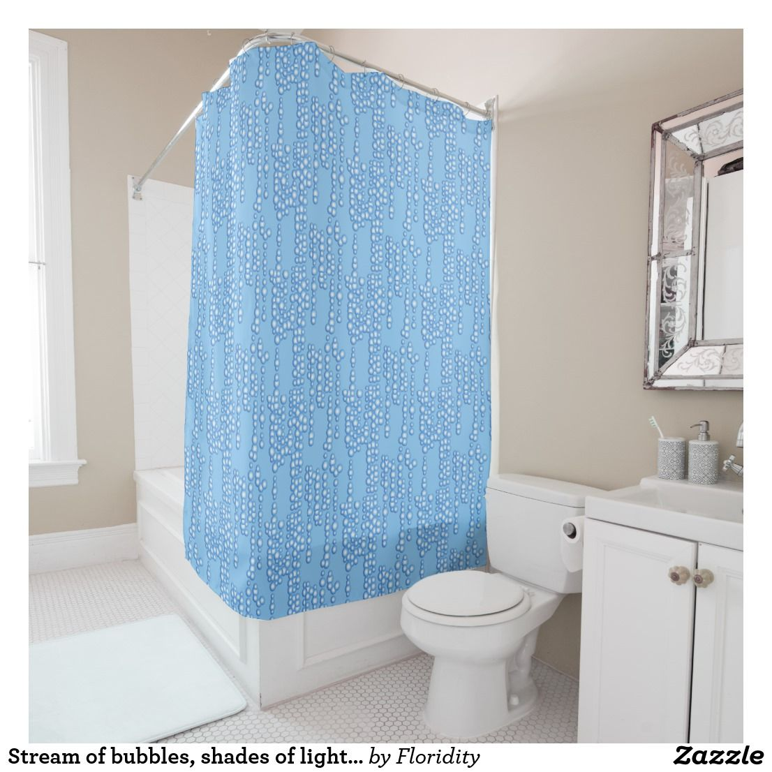 Stream of bubbles, shades of light blue shower curtain | Blue shower ...