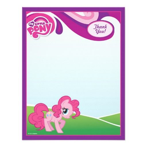 My Little Pony Pinkie Pie Thank You 4 25x5 5 Paper Invitation Card My Little Pony Party My Little Pony Twilight Little Pony Party