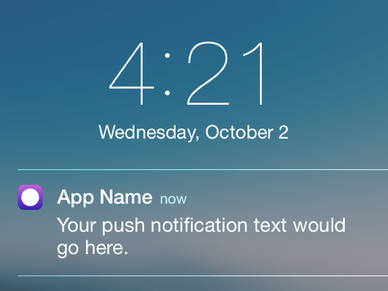 iOS Push Notification Template - Free sketch resource for download