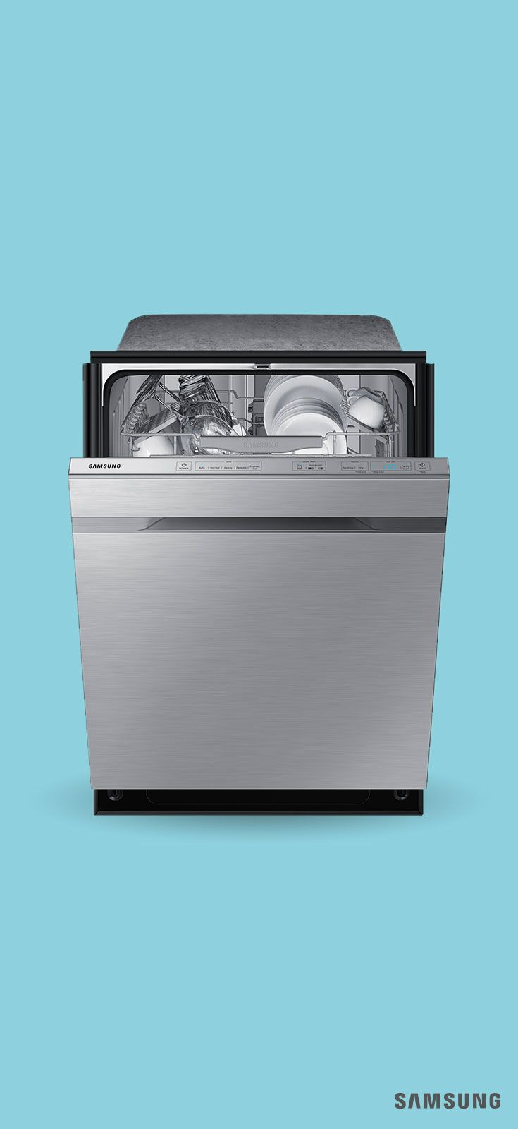 This Samsung Dishwasher With Waterwall Technology Uses A Powerful