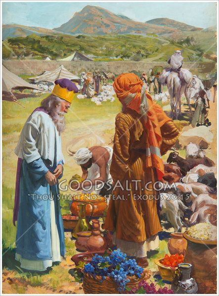 ABRAHAM GIVING PAYING TITHES TO MELCHIZEDEK BIBLE PAINTING ART REAL CANVAS PRINT