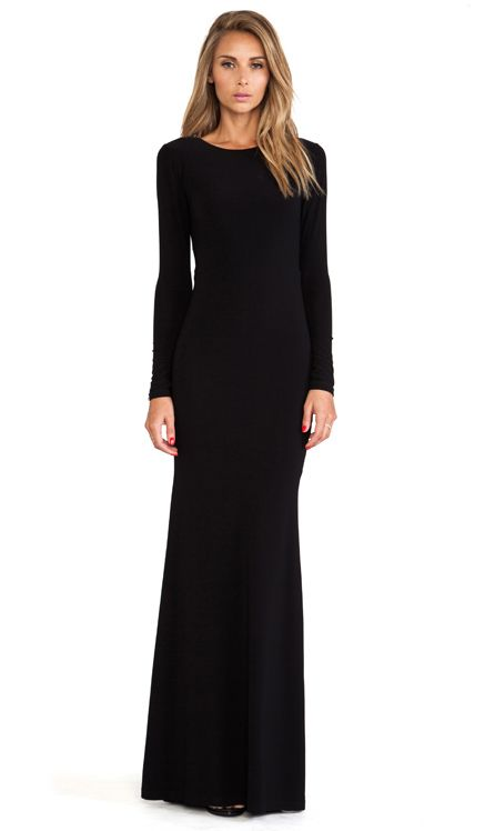 Alice Olivia Long Sleeve Maxi Dress In Black Long Beautiful