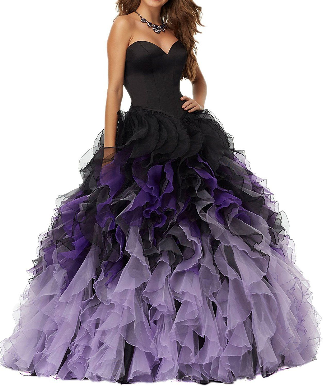 Yanlian sweethart ball gown puffy ombre organza prom dresses long