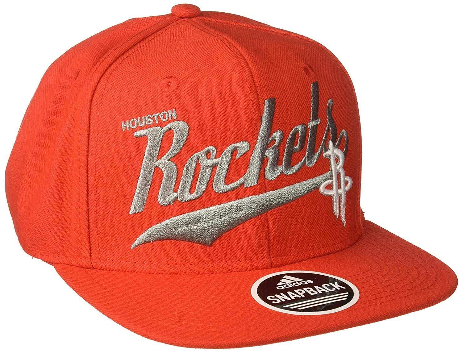 the latest d4b86 6e156 adidas NBA Houston Rockets Men s Tail Sweep Flat Brim Snapback Hat, Red, One