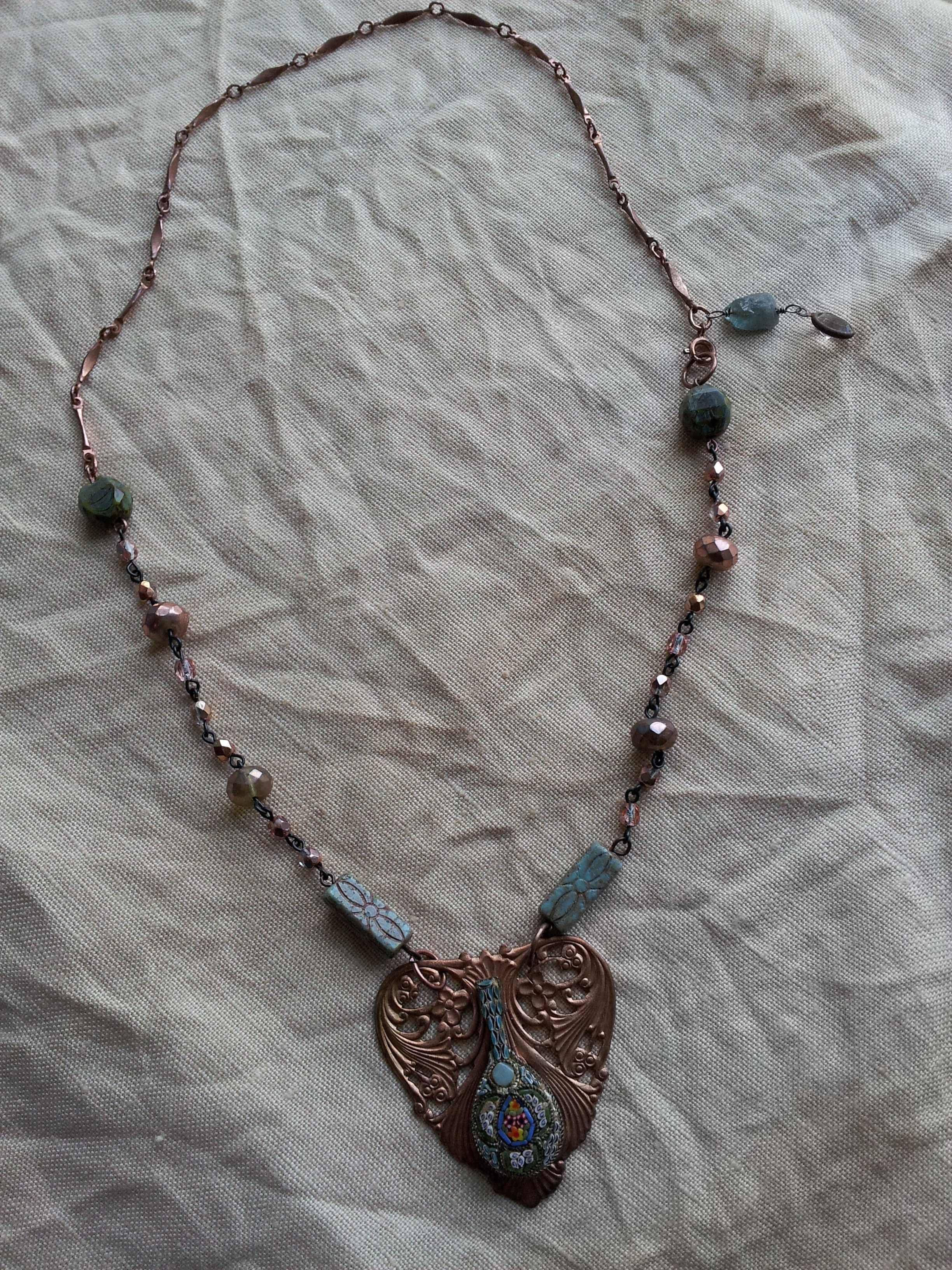 Copper and micro-mosaic with Czech glass beads - June 2014