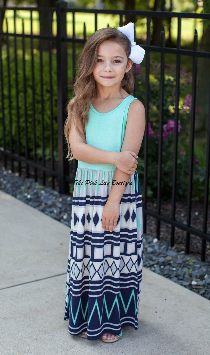 The pink lily boutique crushing on aztec kids mint maxi
