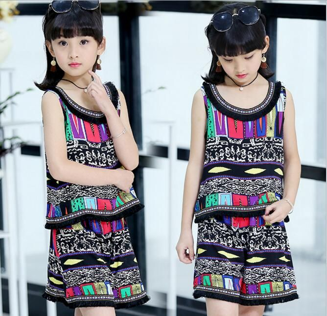 >> Click to Buy << Children's National Printed Sets 2017 Girls Summer Printed Sleeveless Vest Tassel Two Pieces Sets Kids Casual Suit Clothes #Affiliate