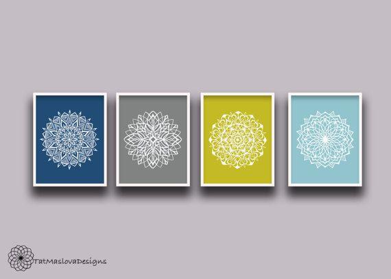 Mandala Wall Art Prints Set of 4 Hand Drawn Mandala Yoga