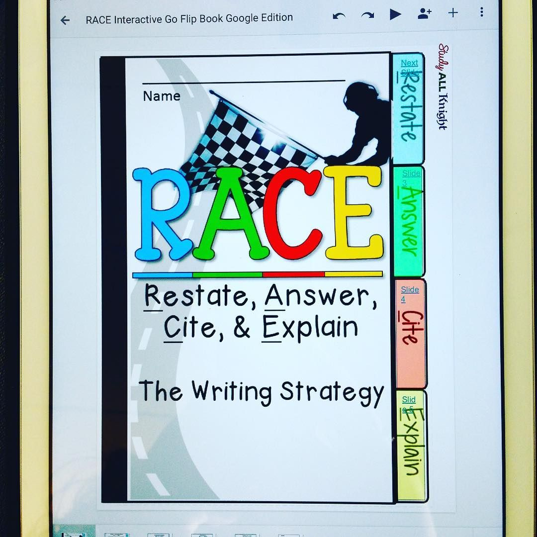 R A C E Writing Strategy Paperless Digital Notebook For