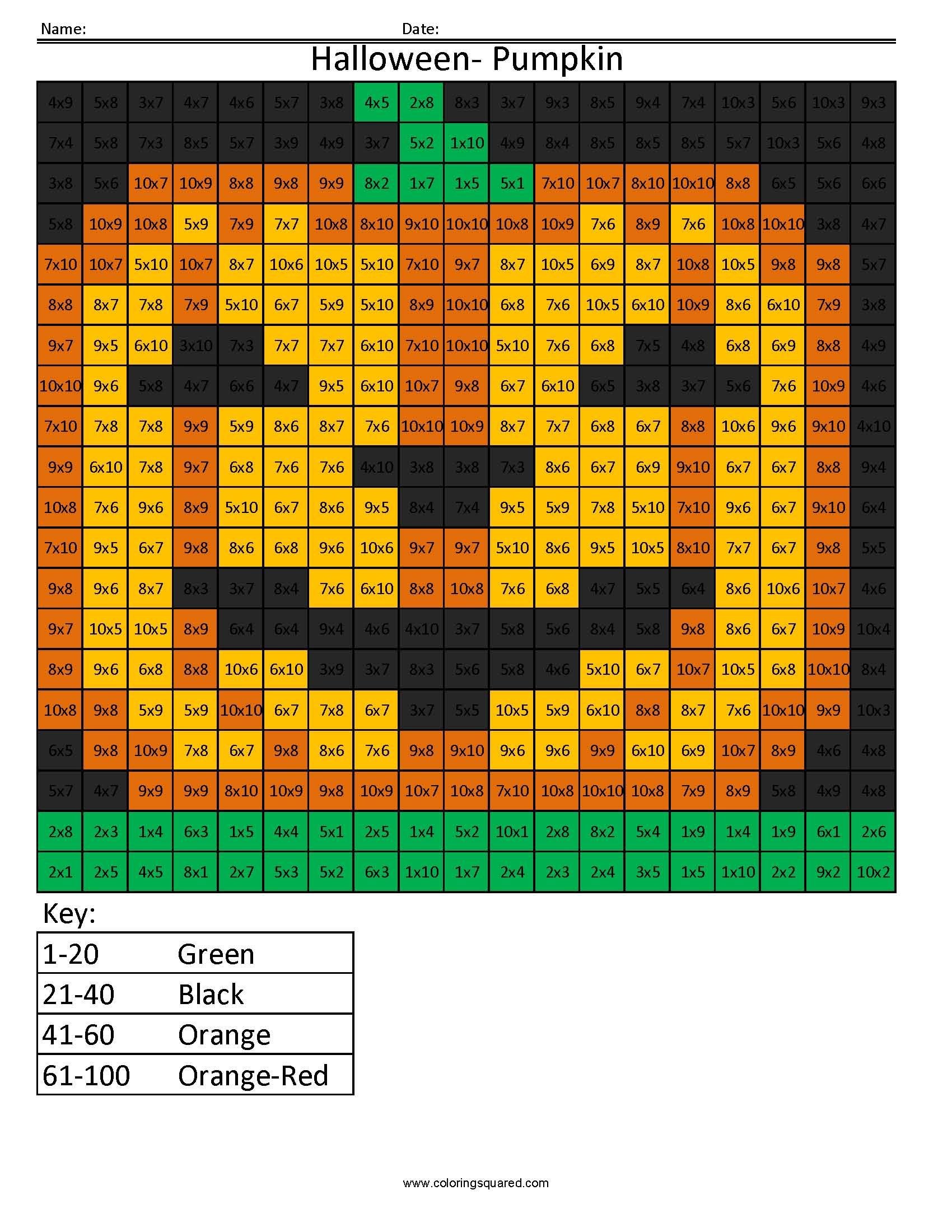Worksheet Halloween Multiplication Sheets minecraft color by number with multiplication and division halloween pumpkin holiday multiplication