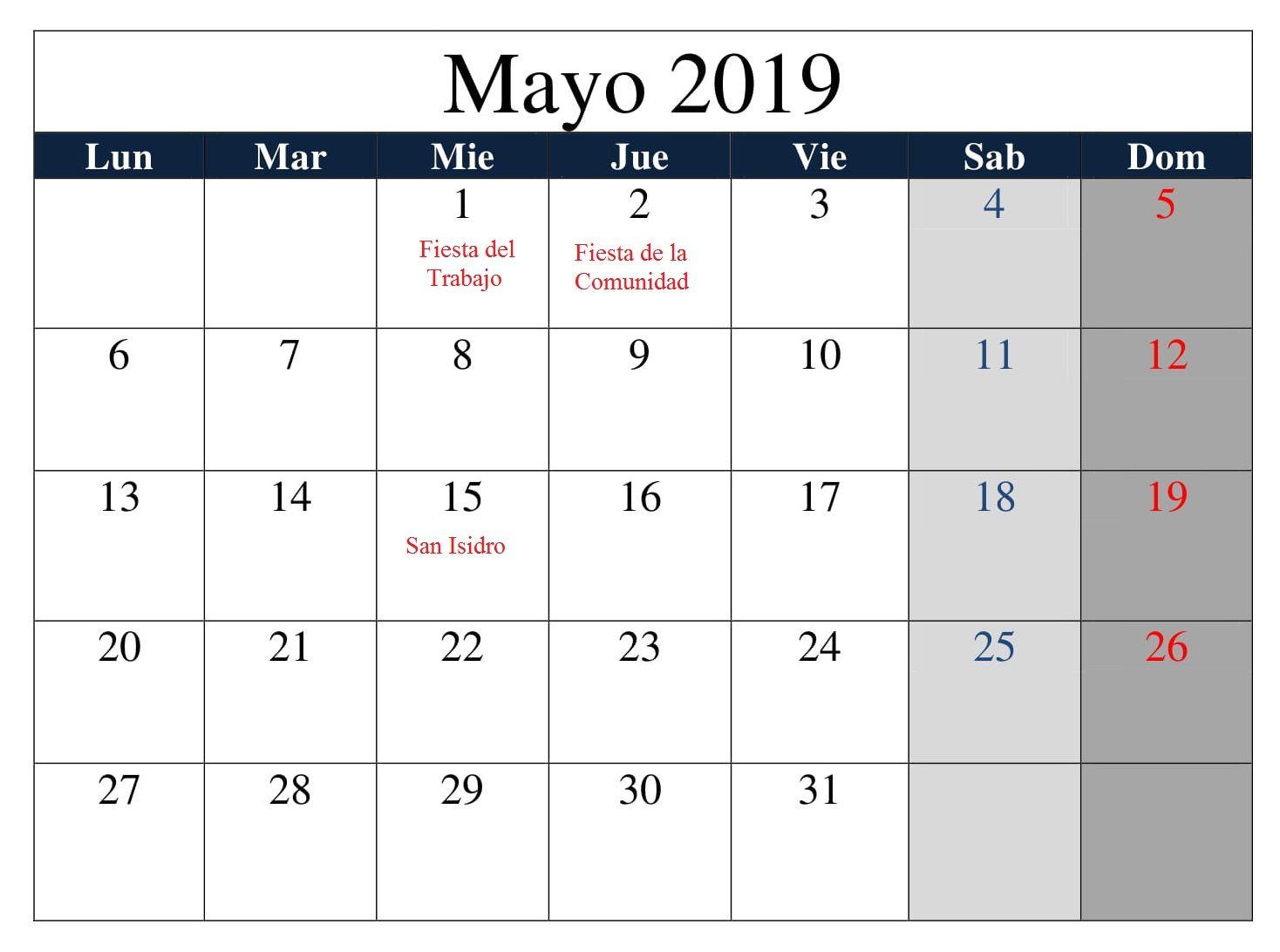 Calendario Con Excel.Mayo Calendario 2019 Con Festivos Excel Calendario Mayo