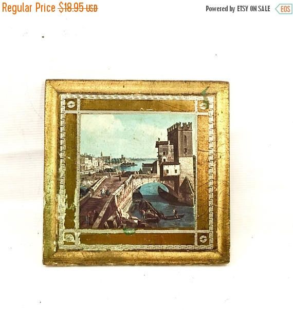 Labor Day Sale FLORENTINE souvenir of Venice Italy gold wall picture ...
