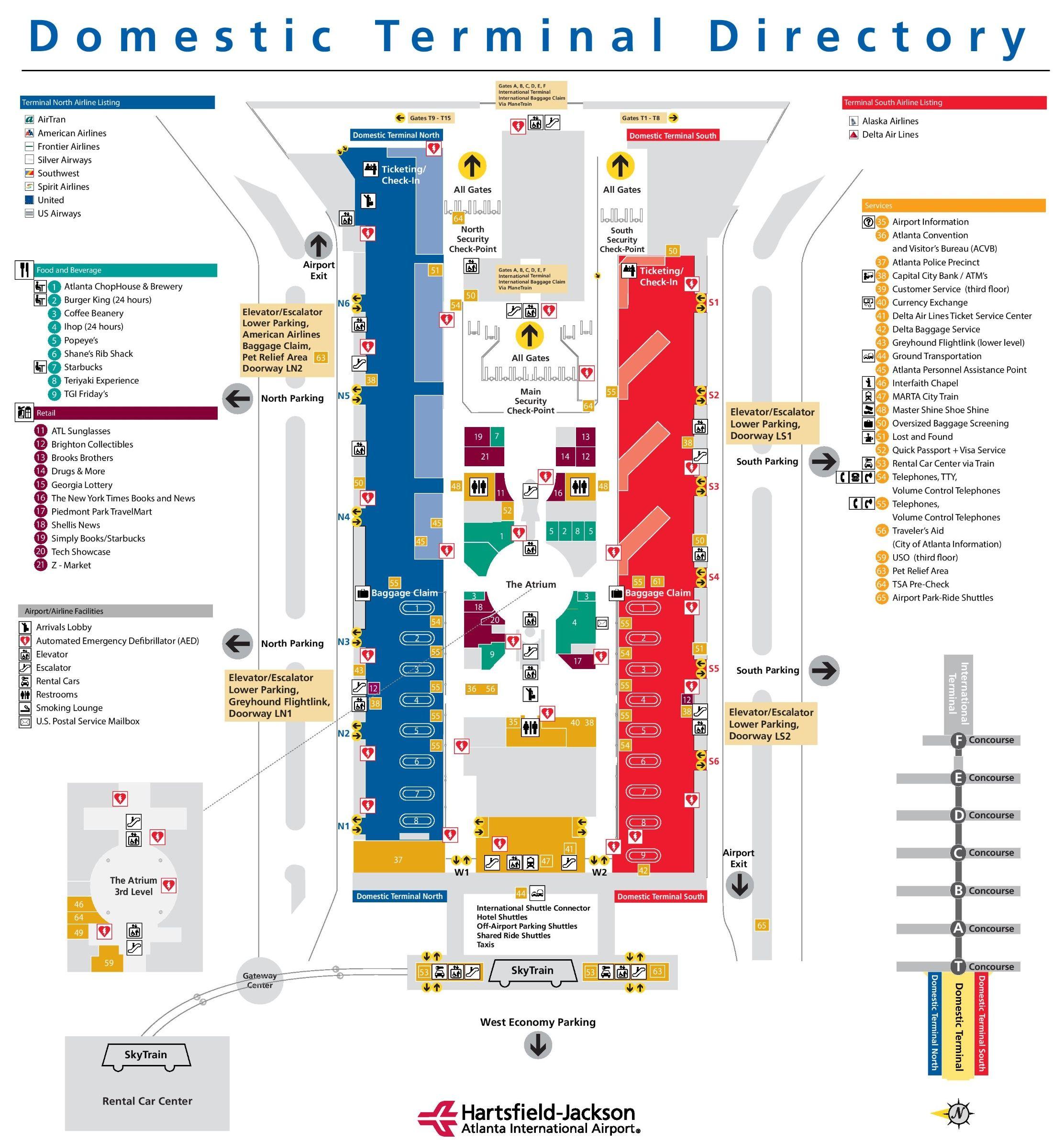 Atlanta Hartsfield Airport Terminal Map Atlanta airport main terminal map | Travel Dreams in 2019