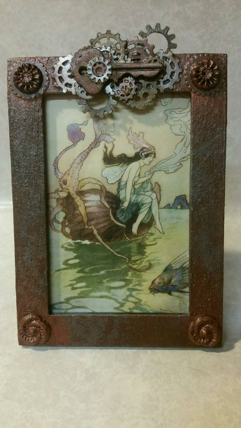 """Steam Punk Industrial Embellished Painted, Key, Cogs, Gears, Sprockets Picture Frame 3 1/2 X 5"""" by ValhallaSisters on Etsy"""