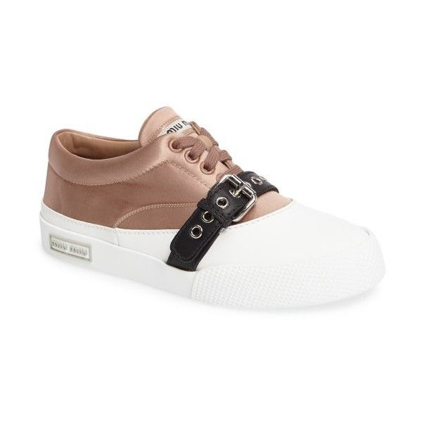 Women's Miu Miu Belted Sneaker (€555) ❤ liked on Polyvore featuring shoes, sneakers, nude leather, nude leather shoes, genuine leather shoes, leather footwear, miu miu sneakers and nude shoes
