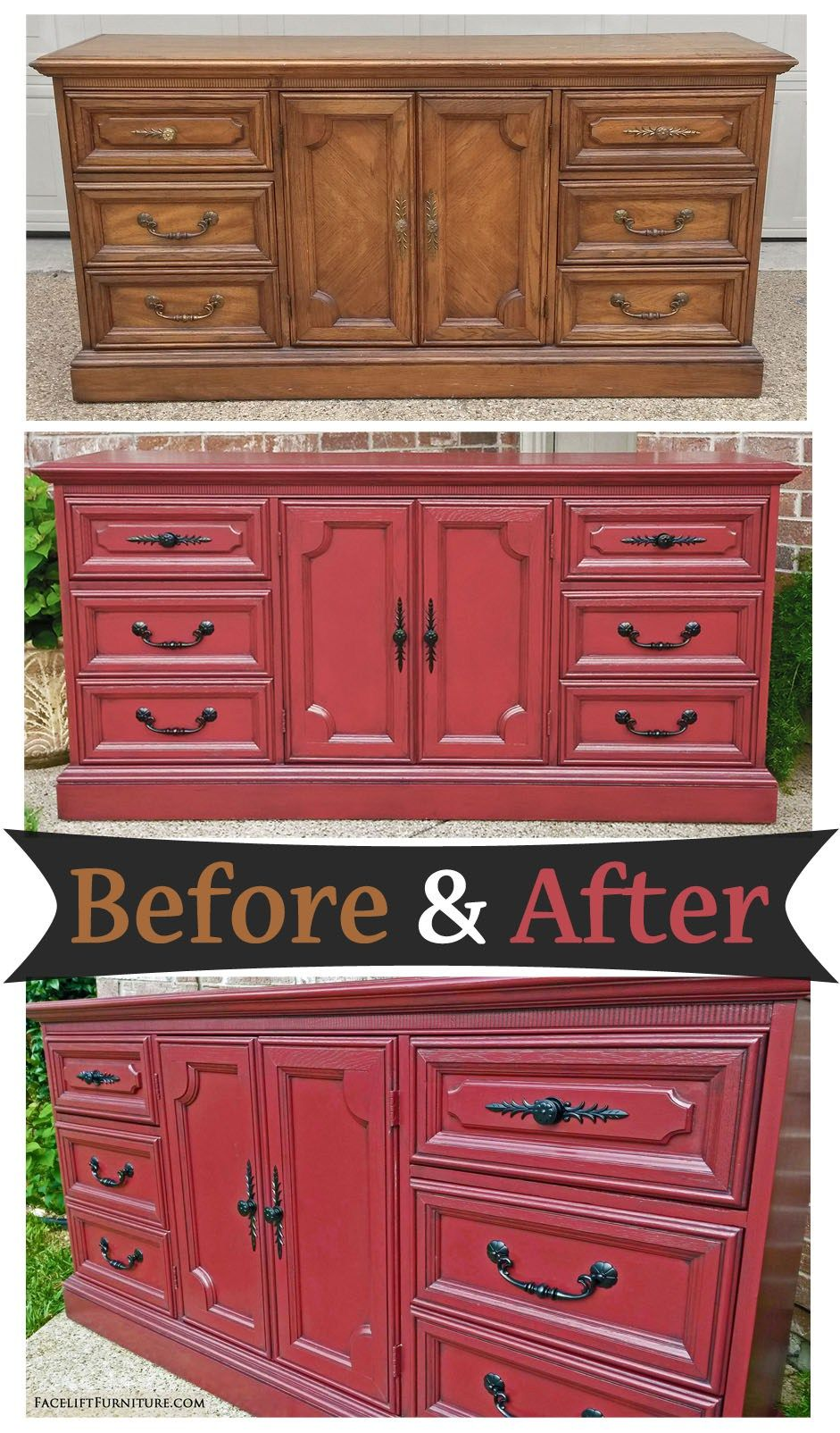 Dresser painted and glazed in Barn Red and Black - Before ...
