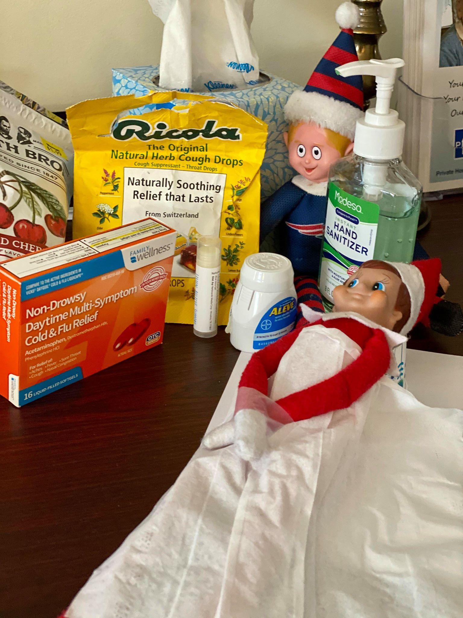 Aww he is sick! ( Hand sanitizer, Elf on the shelf, Shelves