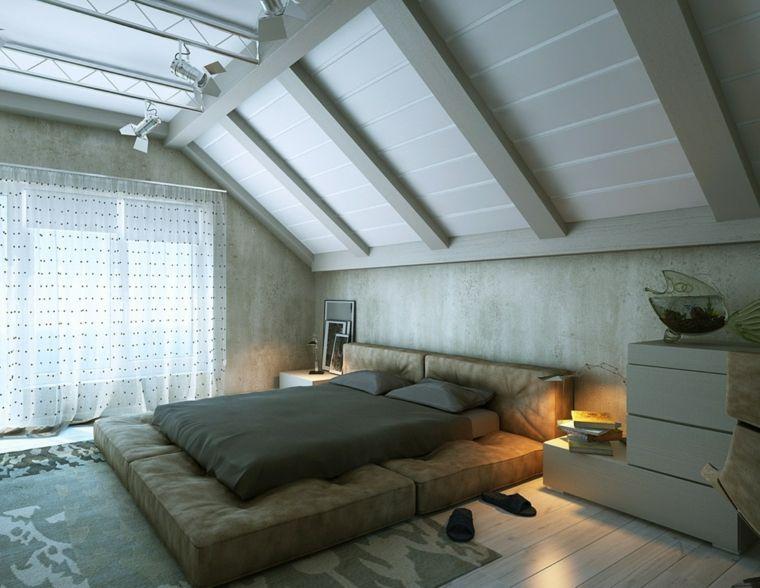 Moderna camera con letto futon tappeto e comodini grigi tende