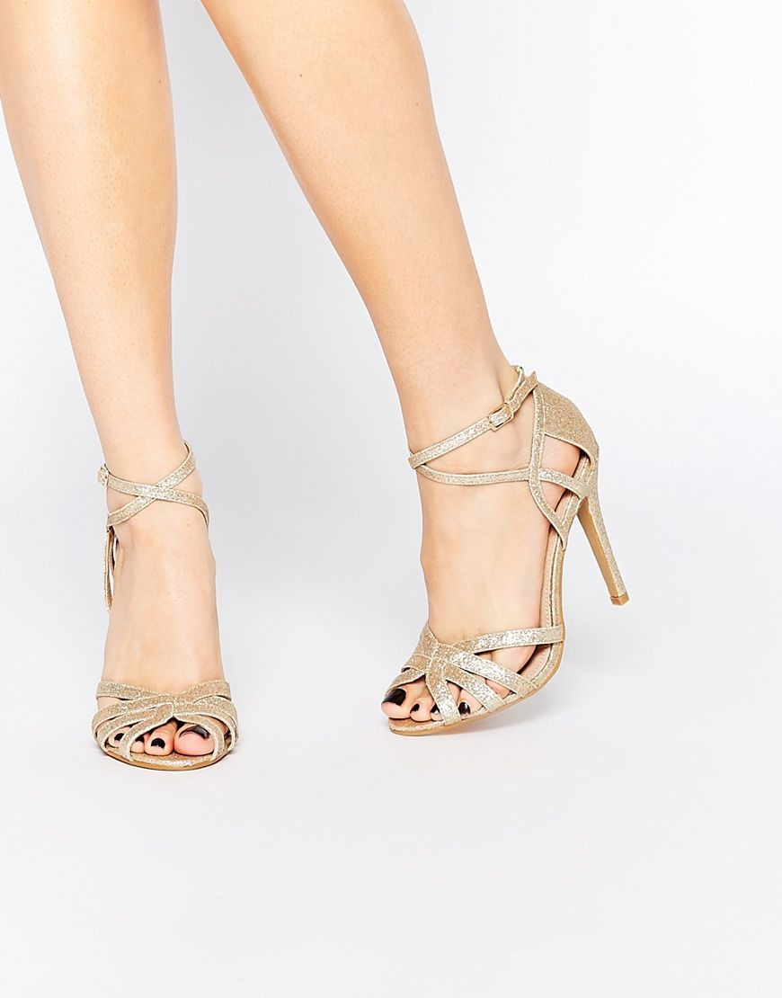 True Decadence Light Gold Sparkle Strappy Sandals sale outlet PFP8s